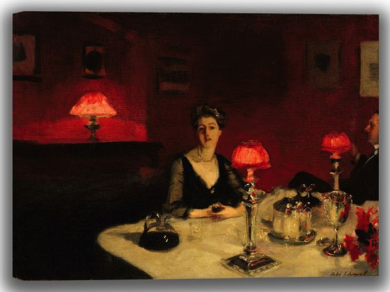 Sargent, John Singer: A Dinner Table at Night. Fine Art Canvas. Sizes: A4/A3/A2/A1 (004046)